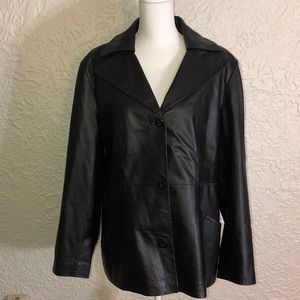 East 5th Jackets & Coats - Genuine Leather Black coat for Larger Woman. Great